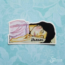 Load image into Gallery viewer, Dream Vinyl Art Sticker Decal beautiful brunette woman sleeping