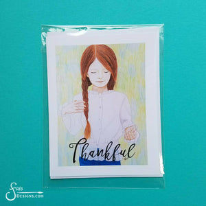 Thankful greeting card with envelope of Redhead Girl with braids