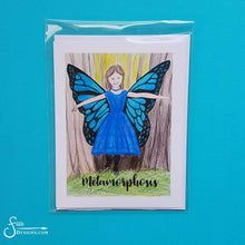 Load image into Gallery viewer, Metamorphosis Inspirational greeting card of Woodland Fairy Girl with Butterfly Wings