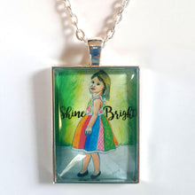 Load image into Gallery viewer, Shine Bright Art Pendant Necklace of blonde girl in dress