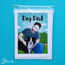 Load image into Gallery viewer, Dog Dad inspirational greeting card of Man and Border Collie