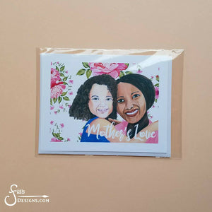Mother's Love, Brown Girls GIFT SET, of Mother and Daughter hugging
