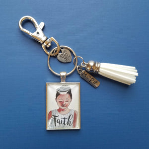 Faith Pendant Keychain with tassel of brown girl