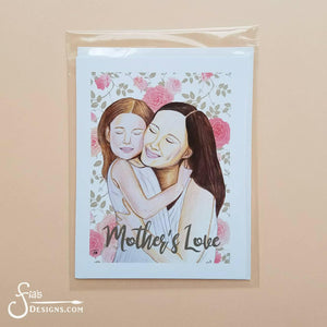 Mother's Love inspirational greeting card  of Mother & Daughter hugging