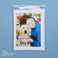 Load image into Gallery viewer, Dog Mom inspirational greeting card of Woman and Yellow Labrador