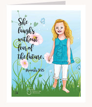 Load image into Gallery viewer, Proverbs She Laughs Without Fear inspirational greeting card of blonde girl