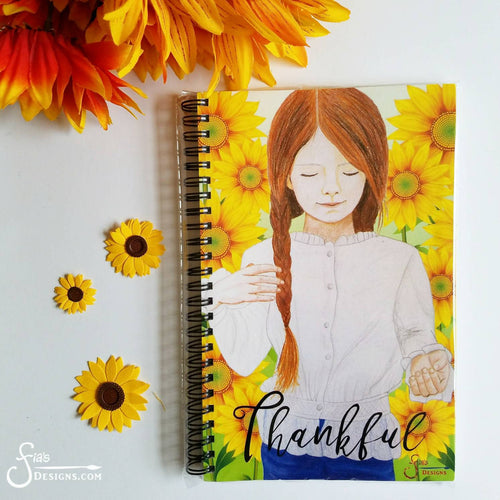 Thankful Inspirational Gratitude Journal of redhead girl and sunflowers