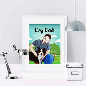 Dog Dad Inspirational Art Print of Man and Border Collie