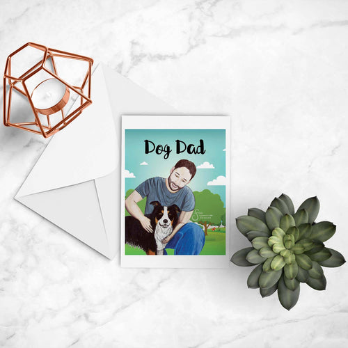 Dog Dad inspirational greeting card of Man and Border Collie