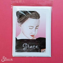 Load image into Gallery viewer, Grace inspirational greeting card of peaceful Girl with Bow in her hair