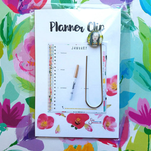 Grow Inspirational Planner Clip Bookmark of brunette girl with green leaf