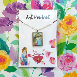 Faith Pendant Necklace of blonde girl