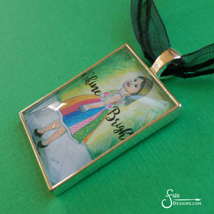Shine Bright Art Pendant Necklace of blonde girl in dress
