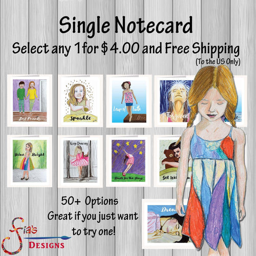 Single Inspirational Card & envelope. Whimsical greeting cards.