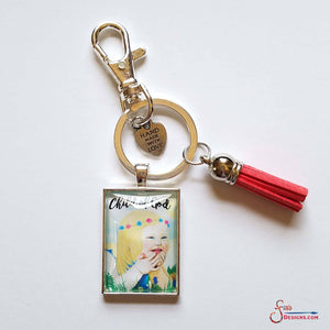 Child of God pendant Keychain of a blonde girl with downs syndrome