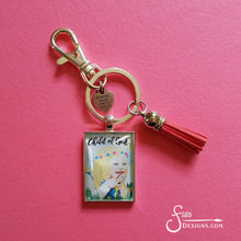 Load image into Gallery viewer, Child of God pendant Keychain of a blonde girl with downs syndrome