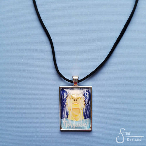 Forgiven Pendant Necklace of Man in Rain