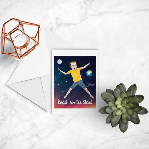 Reach for the Stars inspirational greeting card of young boy with glasses jumping in space