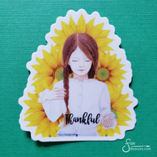 Load image into Gallery viewer, Thankful Vinyl Art Sticker of redhead girl with sunflowers
