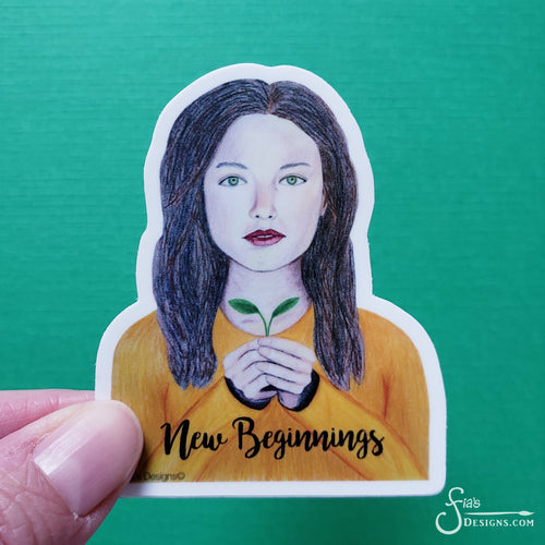 New Beginnings Vinyl Sticker of brunette girl with green leaves