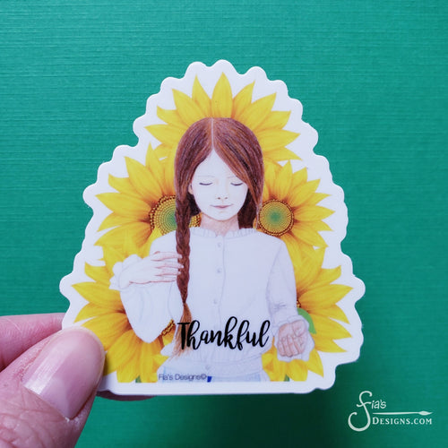 Thankful Vinyl Art Sticker of redhead girl with sunflowers