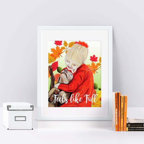 Feels Like Fall Art Print of Girl Hugging Dog with Autumn Leaves