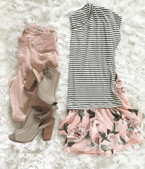 Peonies Striped Top