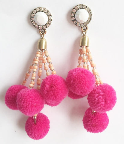 The Carmen Pom Pom Earring in Pink