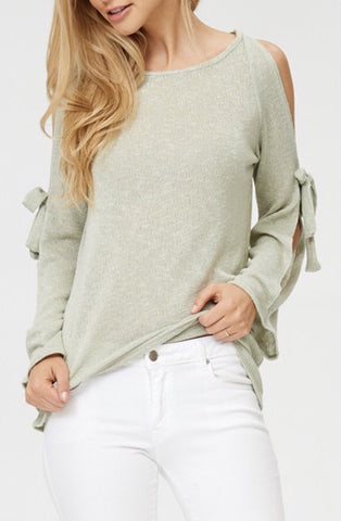 Bell Sleeve Cold Shoulder Top