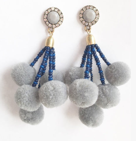 The Carmen Pom Pom Earring in Grey