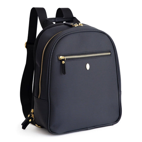 Image of black diaper bag backpack with gold zippers and accents