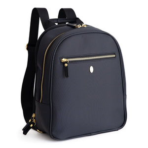 black diaper bag backpack with gold zippers and accents