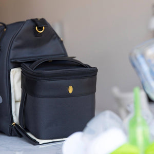 black travel cooler bag in a breast pump tote bag