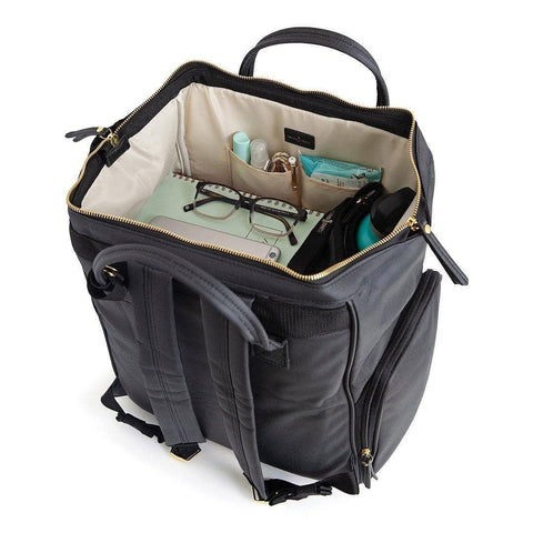 breast pump backpack back view with comfortable shoulder straps