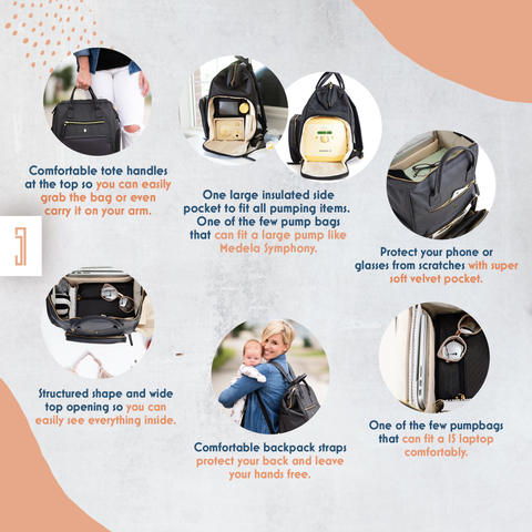 Image of best breast pump bag for working moms with all key features comfortable tote handle backpack straps large capacity chic look