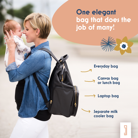 mom mother mum with baby and black breast pump backpack