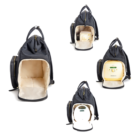 Image of breast pump backpack with insulated large side pocket that fits medela symphony spectra s1 and s2