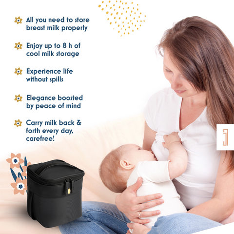 Image of mom mother nursing a baby and an insulated baby bottle cooler bag
