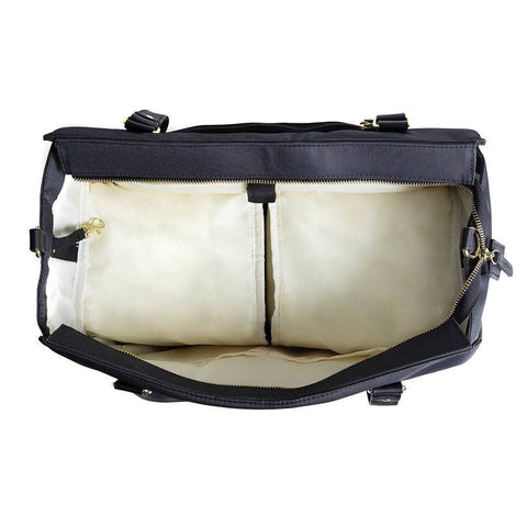 Image of breast pump bag internal view insulated cooler side pockets open