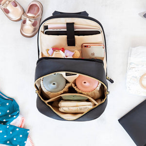 diaper backpack internal view ipad sleeve insulated bottle pocket organization