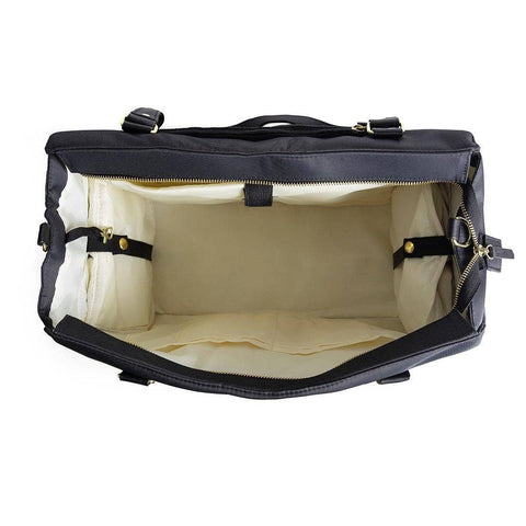 Image of breast pump bag internal view insulated cooler side pockets closed