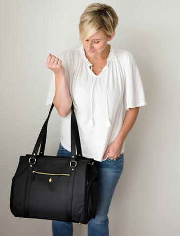Mom mother mum carrying breast pump back shoulder tote work bag black