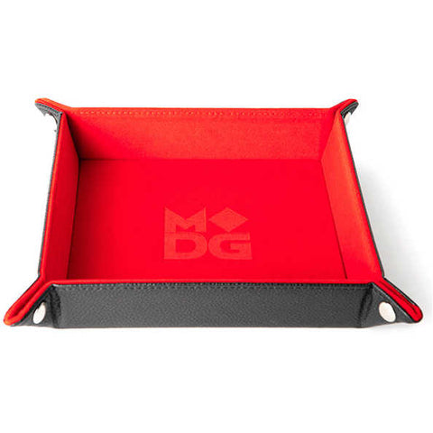 Velvet Folding Dice Tray with Leather Backing: 10x10 - RED