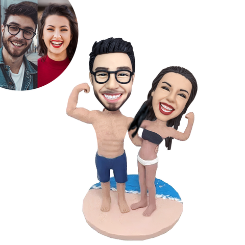 Beach Workout Couple Custom Bobblehead