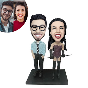 Businessman With Dominatrix Couple Custom Bobblehead