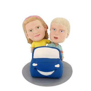 Boy And Girl In Car Custom Bobblehead KIDS My Bobblehead