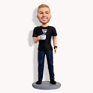 Casual Male Holding Drink Custom Bobblehead Leisure My Bobblehead