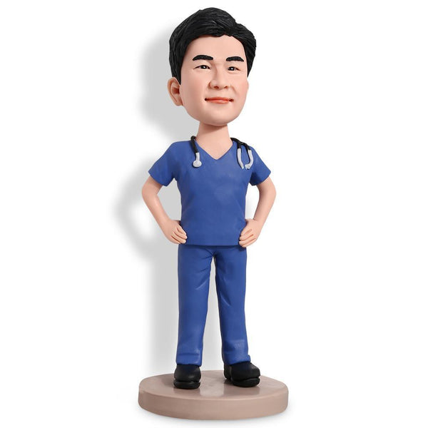 Doctor in Blue Uniform Custom Bobblehead WORKS My Bobblehead