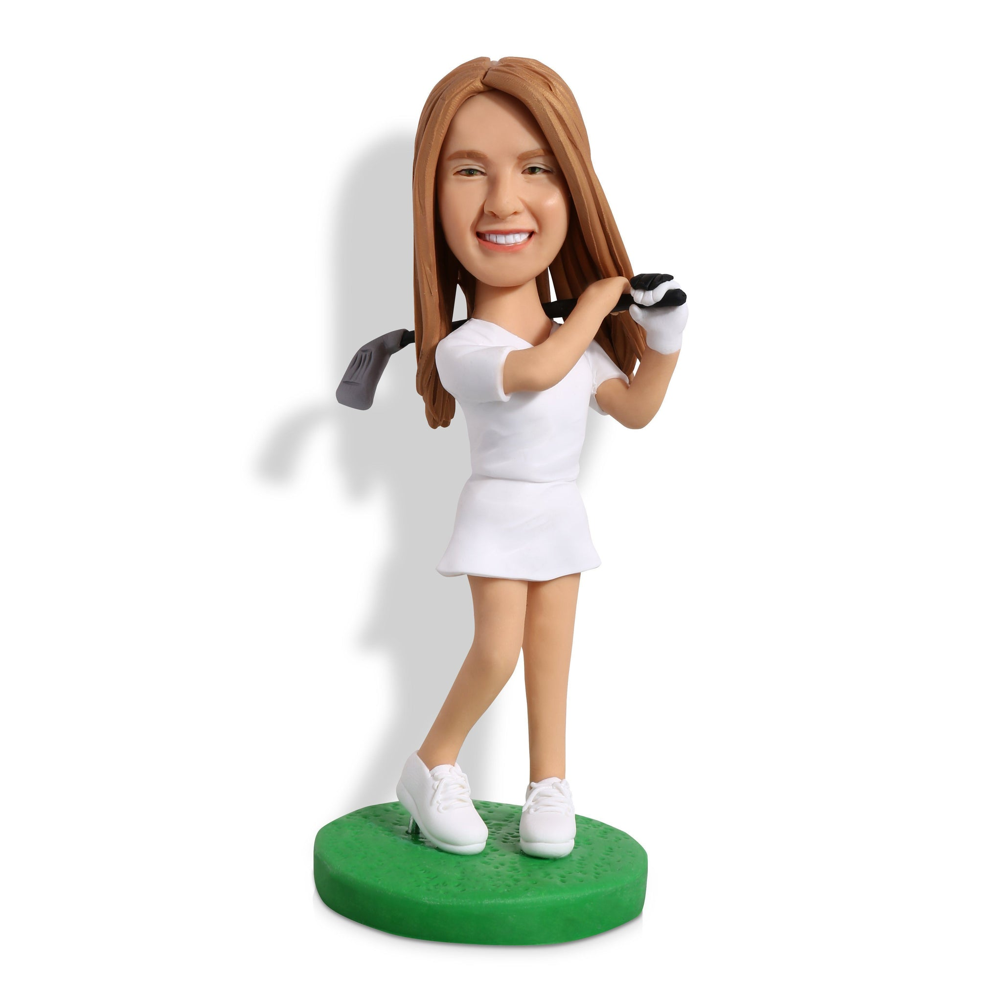 Female Golf Swinging Her Club Custom Bobblehead SPORTS My Bobblehead