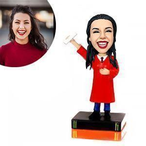 Female Graduate In Red Gown Custom Bobblehead GRADUATION My Bobblehead